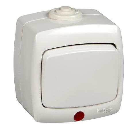 Выключатель/переключатель одноклавишный с подсветкой на 2 направления(проходной) IP44 - 10 А 250 В. Цвет Белый. Schneider Electric(Шнайдер электрик). Rondo(Рондо). VA610-129B-BI