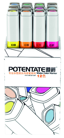 Набор маркеров Potentate Box Set, 12 цветов, Water based