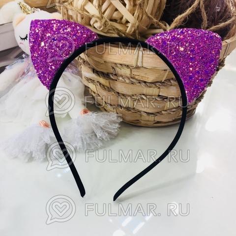 Ободок для волос кошачьи ушки с блёстками Лаванда