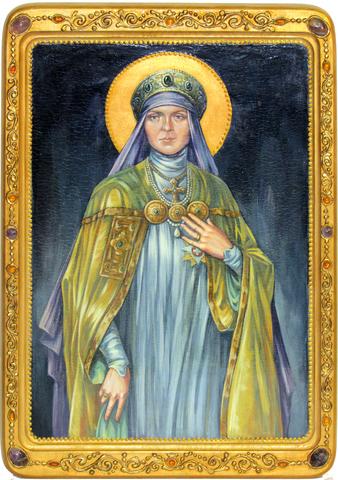 Большая живописная икона Святая преподобная Ангелина Сербская 42х29см на кипарисе в березовом киоте