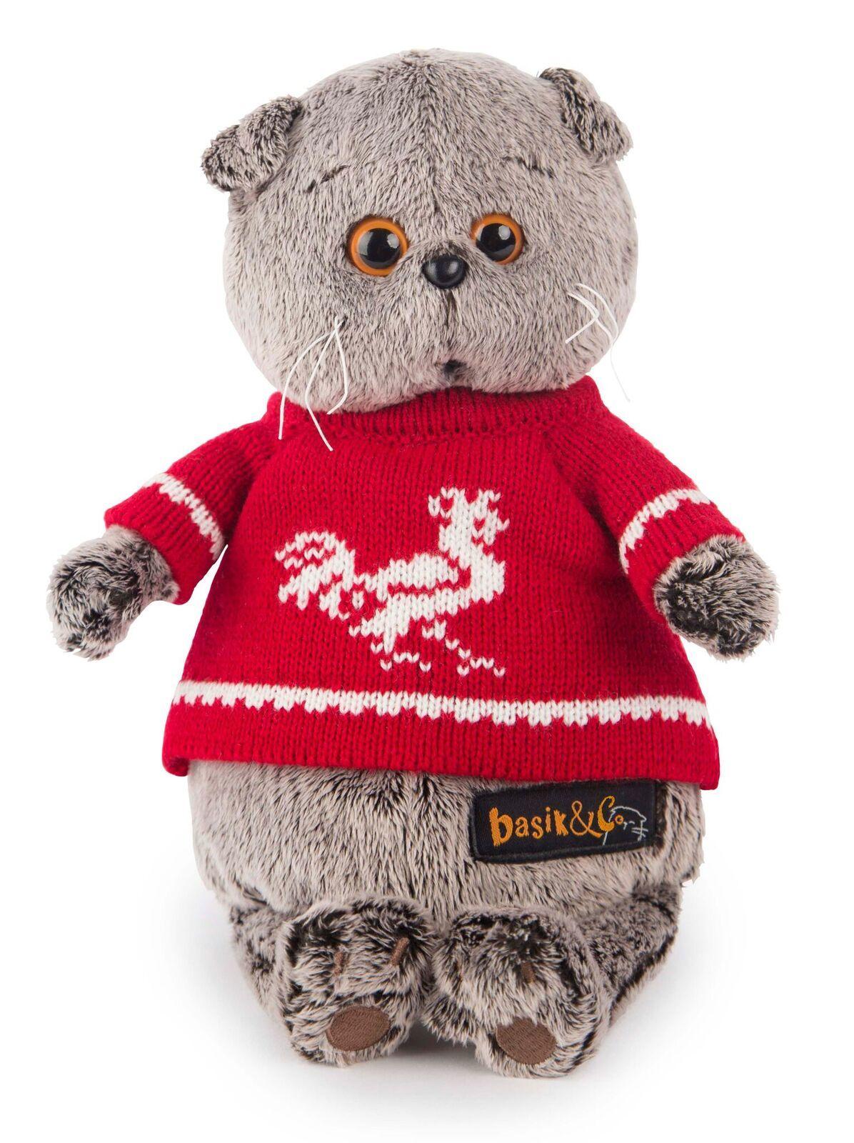 Кот Басик в красном свитере с петушком купить