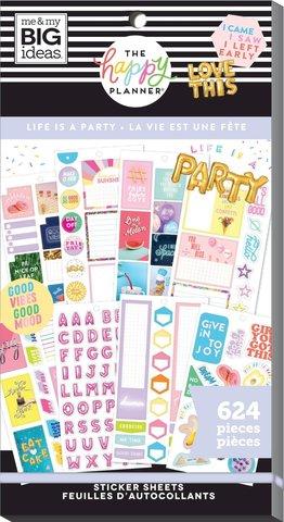 Блокнот со стикерами для ежедневника Create 365 Happy Planner Sticker Value Pack-BIG - life is a party, 624 шт