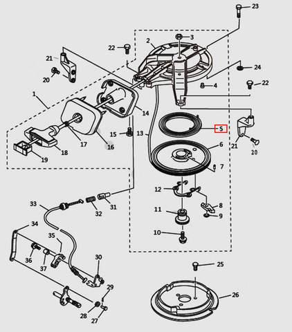 Пружина стартера большая для лодочного мотора T9.8 Sea-PRO (7-5)