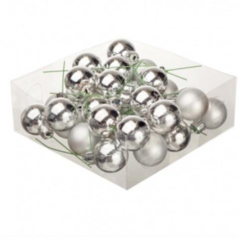 Набор шаров елочных на проволоке 32шт. (пластик), D3см, цвет: серебро