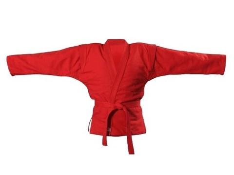 Куртка для самбо. Цвет красный. Размер 50. Состав: 100% хлопок, плотность 550гр./кв.м