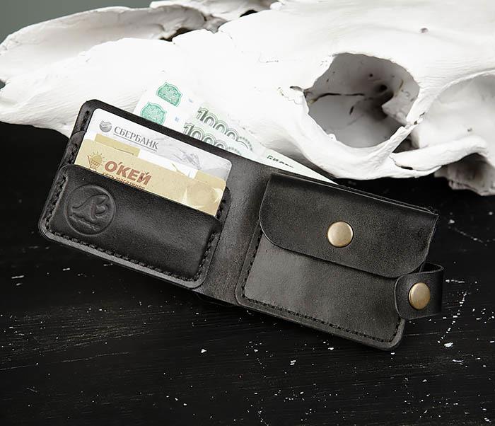 WB182-1 Мужское портмоне ручной работы с монетницей фото 06