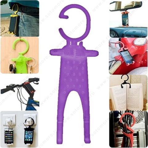 Торговое оборудование - Подставка универсальная для смартфонов можно подвешивать за гибкий крюк фиолетовый