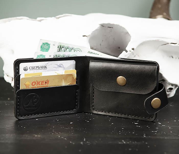 WB182-1 Мужское портмоне ручной работы с монетницей фото 07