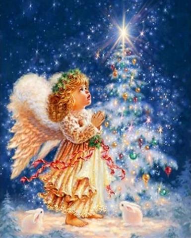 Алмазная Мозаика 20x30 Новогодний ангел и елка