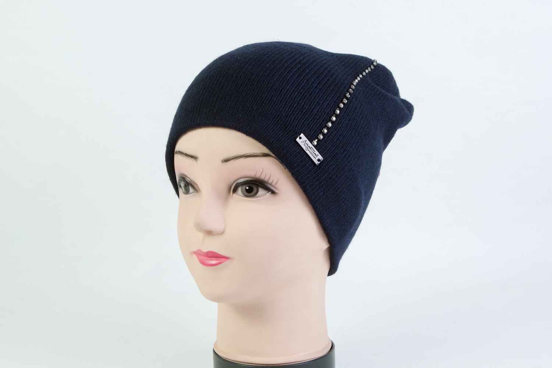 Женская шапка тёмно-синяя SH AH-6101 Blue