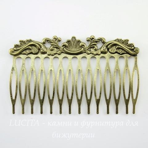 "Гребень, основа для заколки ""Винтаж"", 75х45 мм (цвет - античная бронза)"
