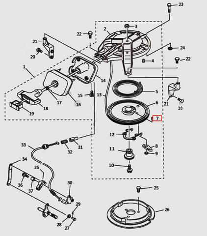 Штифт пружины 4x20 для лодочного мотора T9.8 Sea-PRO (7-7)