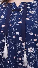 Василина. Нарядная блуза плюс сайз. Синий.