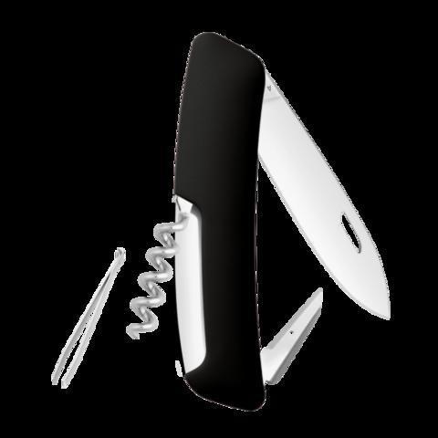 Швейцарский нож SWIZA D01 Standard, 95 мм, 6 функций, черный