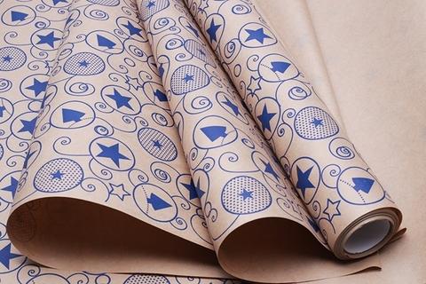 Бумага крафт 70г/м2, 70 см x 10 м, Гирлянда, цвет: синий