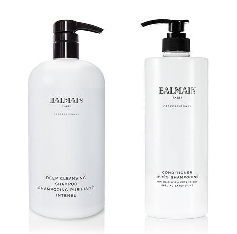 Для наращенных волос: Шампунь Очищающий 1000 мл + Кондиционер питательный для волос 1000 мл со скидкой 50%