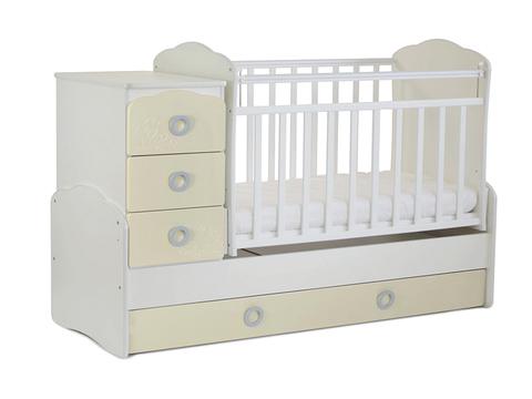 Кровать детская СКВ-9 Птички, опуск.бок.,маятник,4 ящика, (бежевый-белый)