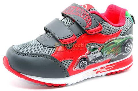 Светящиеся кроссовки Хот Вилс (Hot Wheels) на липучках для мальчиков, цвет серый красный. Изображение 1 из 14.