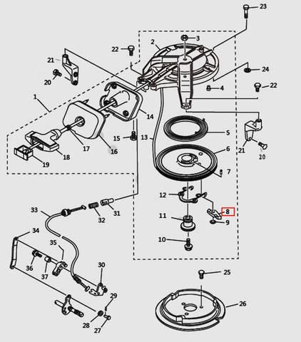 Стопор-упор стартера для лодочного мотора T9.8 Sea-PRO (7-8)
