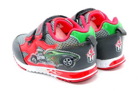 Светящиеся кроссовки Хот Вилс (Hot Wheels) на липучках для мальчиков, цвет серый красный. Изображение 7 из 14.