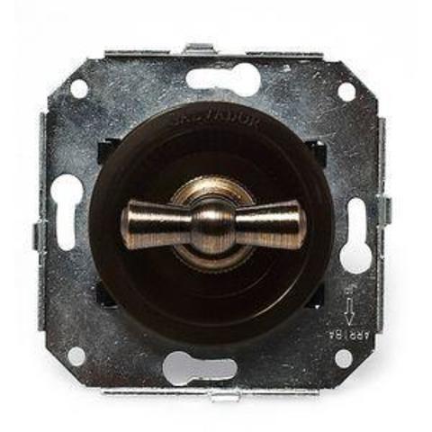 Выключатель четырёх позиционный для внутреннего монтажа оконечный (Двухклавишный). Цвет Коричневый. Salvador. CL21BR