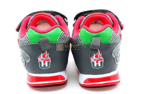 Светящиеся кроссовки Хот Вилс (Hot Wheels) на липучках для мальчиков, цвет серый красный. Изображение 8 из 14.