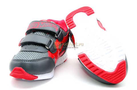 Светящиеся кроссовки Хот Вилс (Hot Wheels) на липучках для мальчиков, цвет серый красный. Изображение 9 из 14.