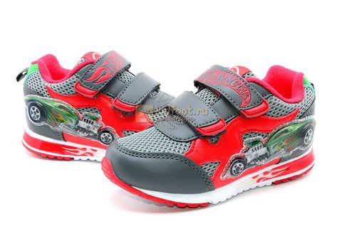 Светящиеся кроссовки Хот Вилс (Hot Wheels) на липучках для мальчиков, цвет серый красный. Изображение 10 из 14.