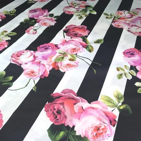 Ткань хлопок сатин  с эластаном розы и полоска 2078