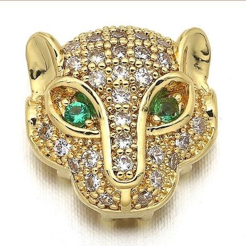 Бусина Леопард с зелеными цирконами