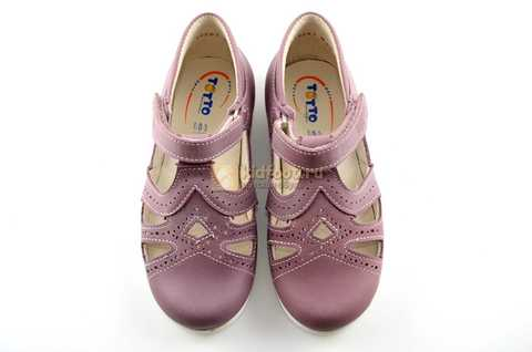 Туфли Тотто из натуральной кожи на липучке для девочек, цвет ирис фиолетовый. Изображение 9 из 12.