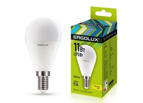 Лампа Ergolux LED-G45-11W-E14-3K (теплый свет)