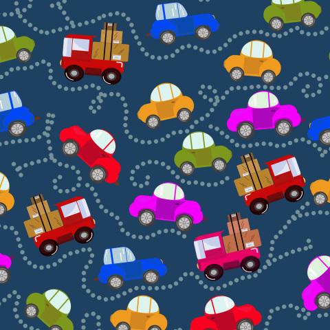 Машинки на синем фоне