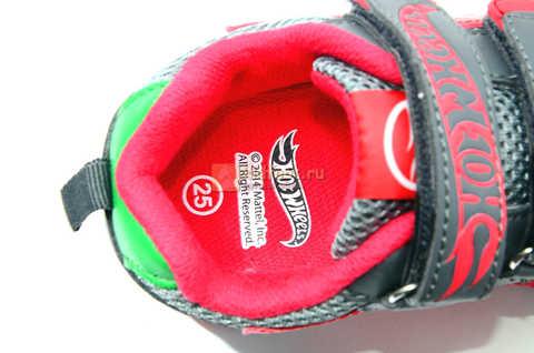 Светящиеся кроссовки Хот Вилс (Hot Wheels) на липучках для мальчиков, цвет серый красный. Изображение 14 из 14.