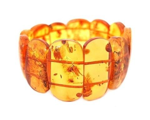 крупный янтарный браслет цвет коньяк