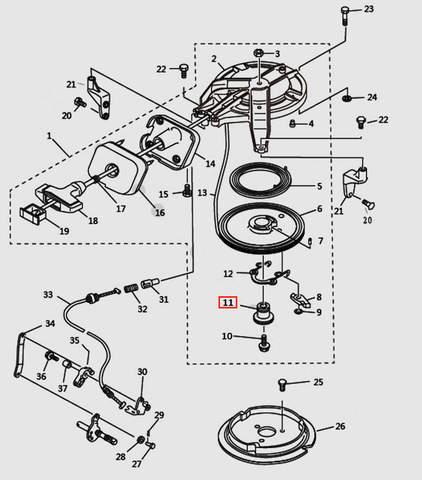 Направляющая втулка стартера для лодочного мотора T9.8 Sea-PRO (7-11)