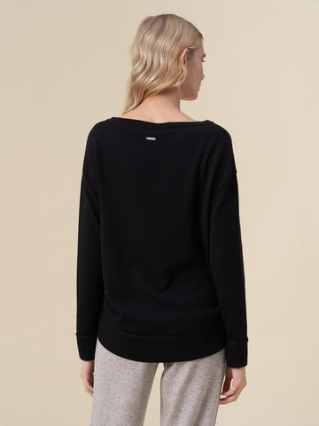 Женский джемпер черного цвета из 100% кашемира - фото 4