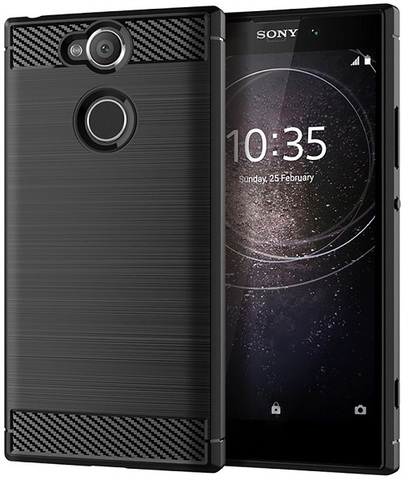 Чехол Sony Xperia XA2 цвет Black (черный), серия Carbon, Caseport