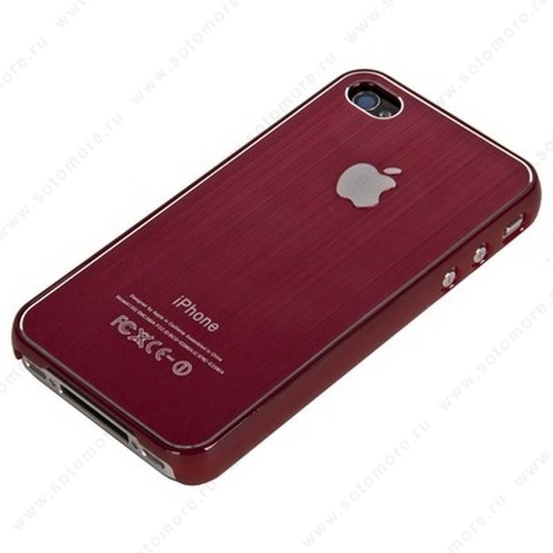 Накладка SGP металлическая для iPhone 4s/ 4 красная
