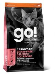 Корм беззерновой для котят и кошек, Go! Solutions Cats Carnivore Grain-Free Salmon+Cod Recipe, с чувствительным пищеварением с лососем и треской