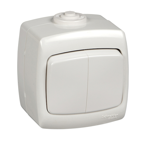Выключатель двухклавишный IP44 - 6 А 250 В. Цвет Белый. Schneider Electric(Шнайдер электрик). Rondo(Рондо). VA56-225B-BI