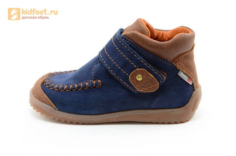 Ботинки для мальчиков кожаные Лель (LEL) на липучке, цвет синий. Изображение 4 из 16.
