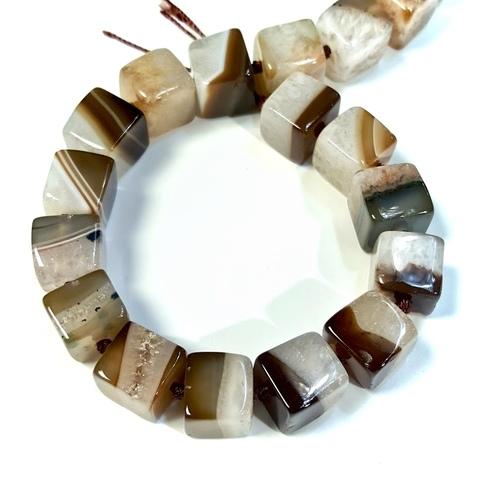 Бусина агат кофейный Куб 13 мм 1 бусина