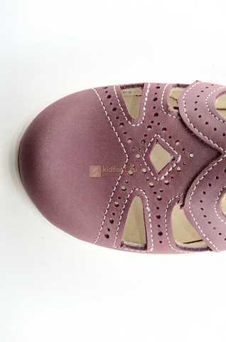 Туфли Тотто из натуральной кожи на липучке для девочек, цвет ирис фиолетовый. Изображение 10 из 12.