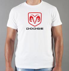Футболка с принтом Dodge (Додж) белая 001