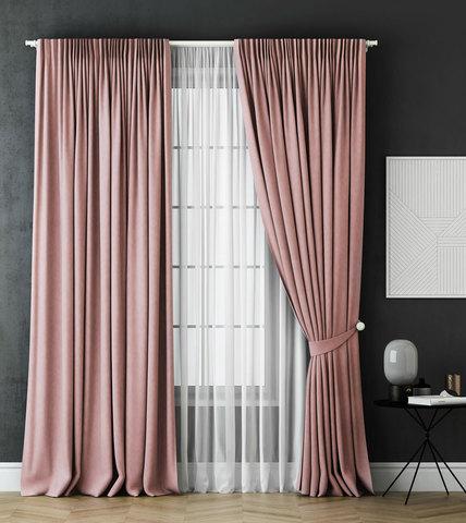 Комплект штор и тюль Грета розовый