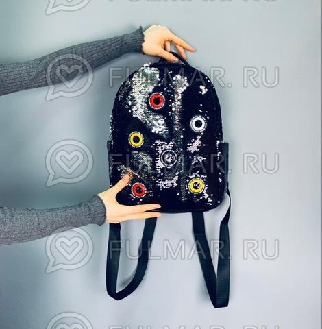 Рюкзак большой в двусторонних пайетках Чёрный-Серебристый