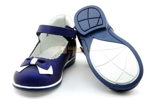 Туфли ELEGAMI (Элегами) из натуральной кожи для девочек, цвет темно синий металлик, артикул 7-805761502. Изображение 8 из 13.