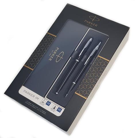Набор из 2х ручек в подарочной коробке  «Паркер Ай Эм Блэк Cb Ти».  Шариковая ручка и перьевая ручка.123