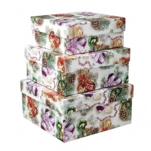 Набор коробок подарочных прямоугольных Новогодние Шары из 3шт., размер: 23х16х9,5 см